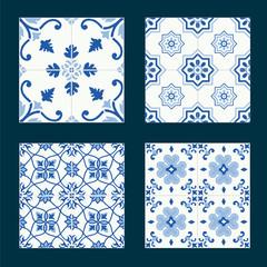Set of vintage ceramic tiles in azulejo design with blue patterns