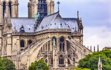 Flying Butresses Spires Overcast Notre Dame Cathedral Paris
