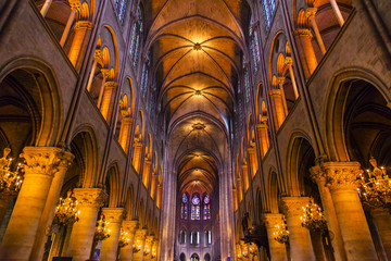 Interior Arches Stained Glass Notre Dame Cathedral Paris France