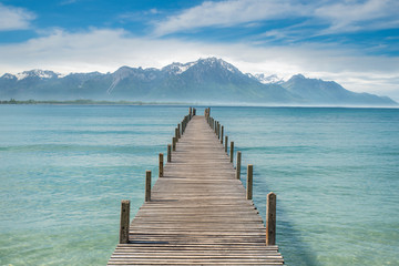 Summer, Travel, Vacation and Holiday concept - Wooden pier in la