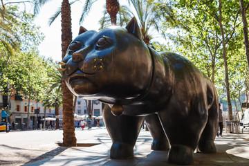 Barcelona, Spain - April 20, 2016: Sculpture of cat in the El Raval