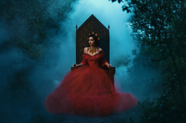 dark evil queen sitting on a luxurious throne,dark boho,  Princess in red dress , vampire , hip toning , creative color,dark boho