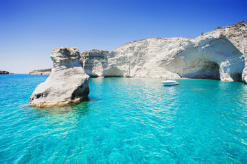 Sailboat in a beautiful bay, Milos island, Greece