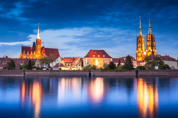 Landmark cathedral, Oder river. Wroclaw, Poland, at night. Skyline