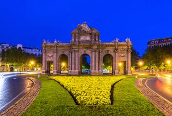 Night view of Puerta de Alcala in Madrid, Spain