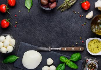 Włoska kuchnia śródziemnomorska kopia miejsce ramki