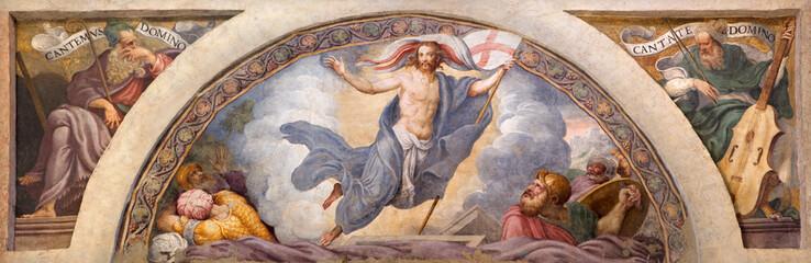 CREMONA, ITALY - MAY 24, 2016: The freso of Resurrection of Jesus in Chiesa di Santa Rita by Giulio Campi (1547).