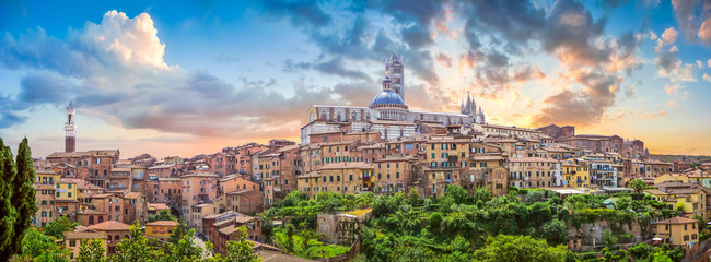 Beautiful view of Siena at sunset, Tuscany, Italy