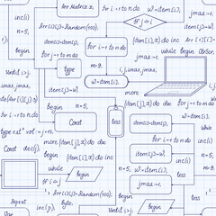 Technical vector seamless pattern with programming code, program flow diagrams, formulas, technical devices and schemes, handwritten on copybook grid paper. Endless computer texture