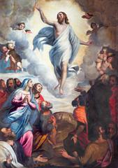 BRESCIA WŁOCHY, MAJ, - 22, 2016: Obrazu wniebowstąpienie władyka w kościelnym kościół Santa Maria Del Carmine Bernardino Gandino (1587, 1651).