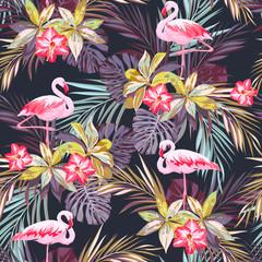 Tropikalny lato wzór z flamingów i egzotycznych roślin