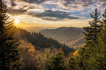 Great Smoky Mountains, jesień wschód słońca Tennessee