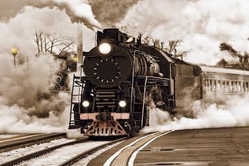 Retro pociąg parowy.