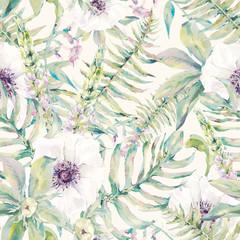Akwarela liść wzór z paprociami i kwiatami