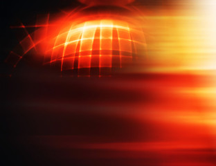 Horizontal 3d globe with blast  abstract illustration background