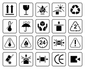 Set Of Packaging Symbols including fragile, to protect from the