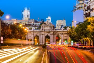 Madrid, Spain Cityscape at Puerta de Alcala.