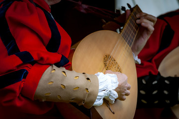 Closeup of the hands of a medieval court musician playing the lute