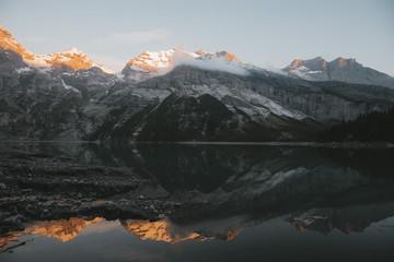 Schweiz Abend Oeschinensee Kandersteg Sonnenuntergang