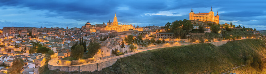 Panoramic view of ancient city and Alcazar on a hill over the Tagus River, Castilla la Mancha, Toledo, Spain