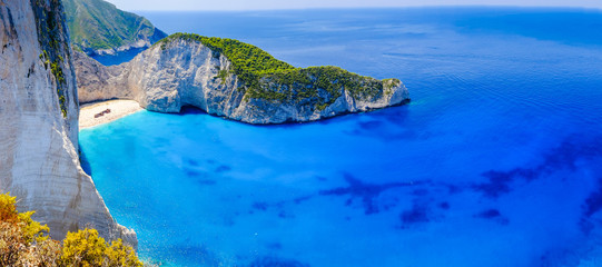 Zakynthos shipwreck beach. Navagio Bay panorama with no boats an