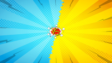 Versus letters fight backdrop. Vector illustration. Decorative background with bomb explosive in pop art style.
