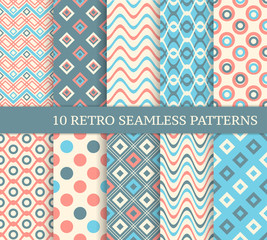 10 different retro seamless patterns. Set of stylish color backg