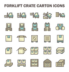 Forklift and warehouse icon