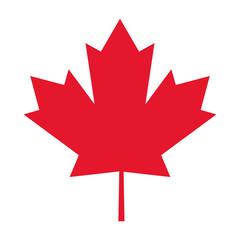 flat design canada flag maple leaf icon vector illustration