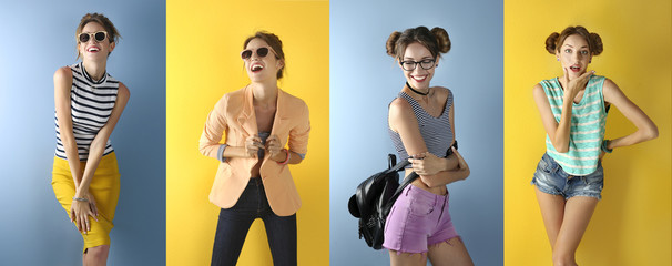 Beautiful fashion girl on color background