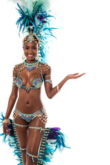 Woman samba dancer with open arm.