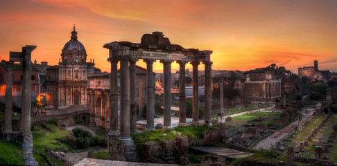 Sunrise at Forum Roman, Rome, Italy, Europe