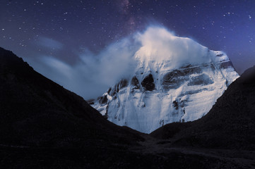 Sacred to Buddhists mount Kailash in  moonlight.