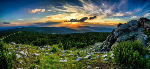 Stuning mountains panorama in the evening, sunset  Karkonosze Mountains