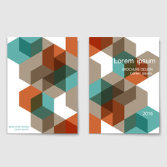 Modern brochure cover template with brown and blue cubes
