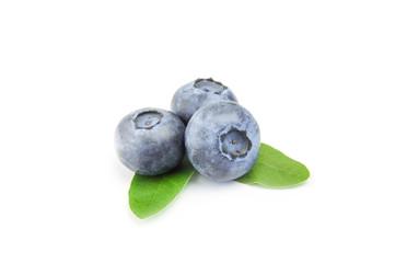 three fresh blueberries isolated on white