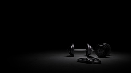 Gym weights under strong dramatic lighting, 3D rendering of gym weights