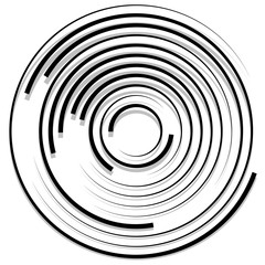 Concentric random circles with dynamic lines. Circular spiral, s