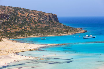 View of the beach in Balos Lagoon on Crete, Greece