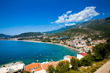 Sea and beach view in Montenegro