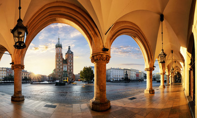 Krakow at sunrise, Poland.