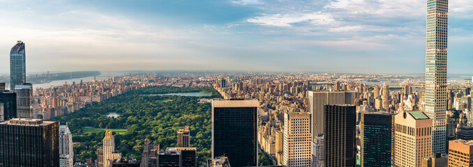 Panorama cityscape view on Central Park, New York, seen from the Rockefeller building