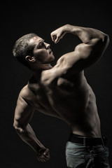 Muscular young bodybuilder