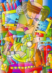 guitar man cubism fotobeer style.
