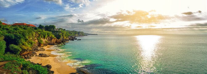 Panoramic seaview with picturesque beach at sunset. Tegalwangi beach, Bali, Indonesia