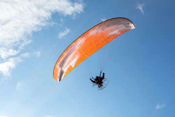 paratrooper parachute on sky.