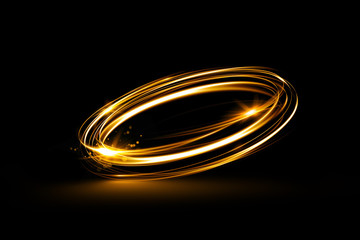 Glow swirl light effect. Circular lens flare. Abstract rotational lines. Power energy element. Space for message.