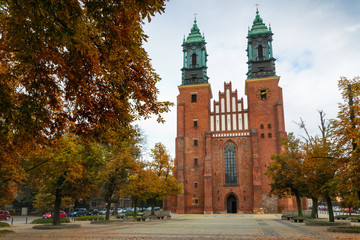 Entrance to The Archcathedral Basilica of St. Peter and St. Paull in polish city Poznan in Ostrow Tumski square. Place of burial of polish kings:  Mieszko I and Boleslaw Chrobry.