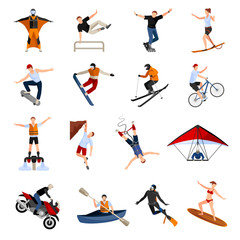Extreme Sports People Flat Icons