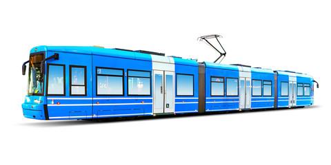 Nowożytny miasto tramwaj odizolowywający na bielu